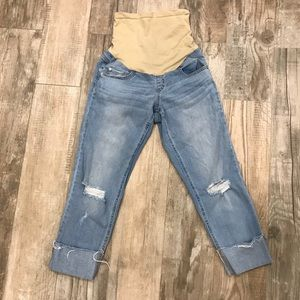 Indigo Blue maternity crop distressed jeans
